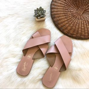 Pink Leather Seychelles Easy Slide Sandals
